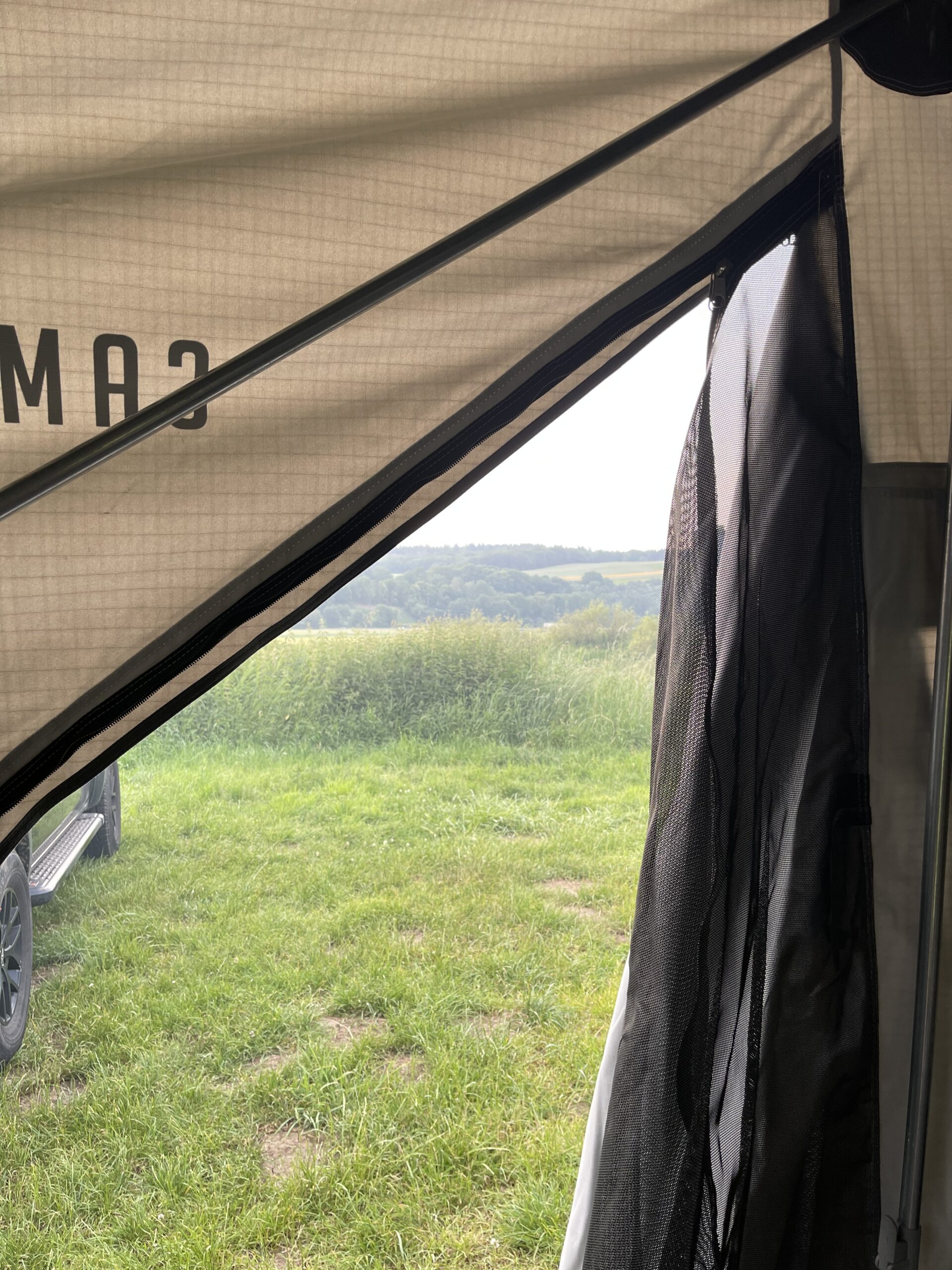 View from inside our Campwerk Family tent Trailer